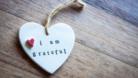 How To Practice Gratitude: Little Heart saying 'I am grateful' lying on a wooden surface