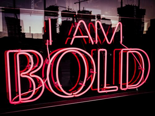"Pink Neon Sign ""I am bold"""