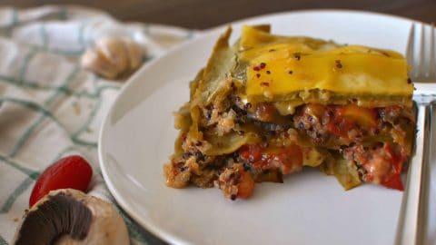 Single piece of vegan lasagna