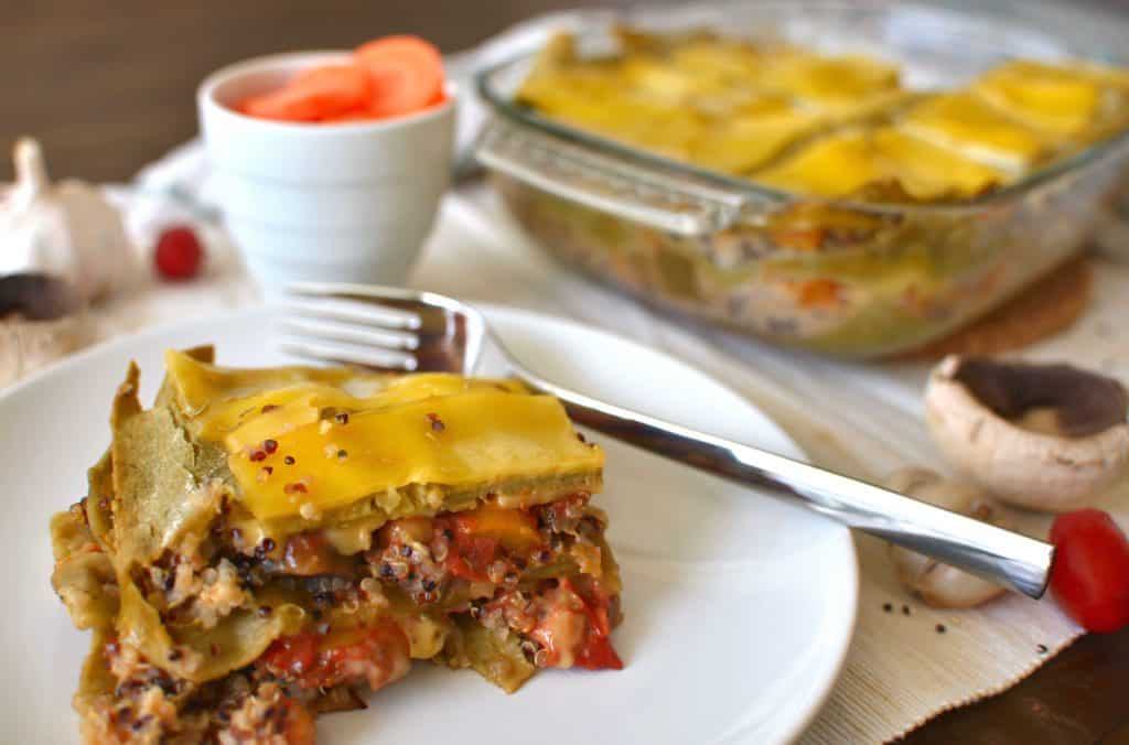 Recipe for Vegan Lasagna - Single Piece of Lasagna in Front of whole lasagna tray